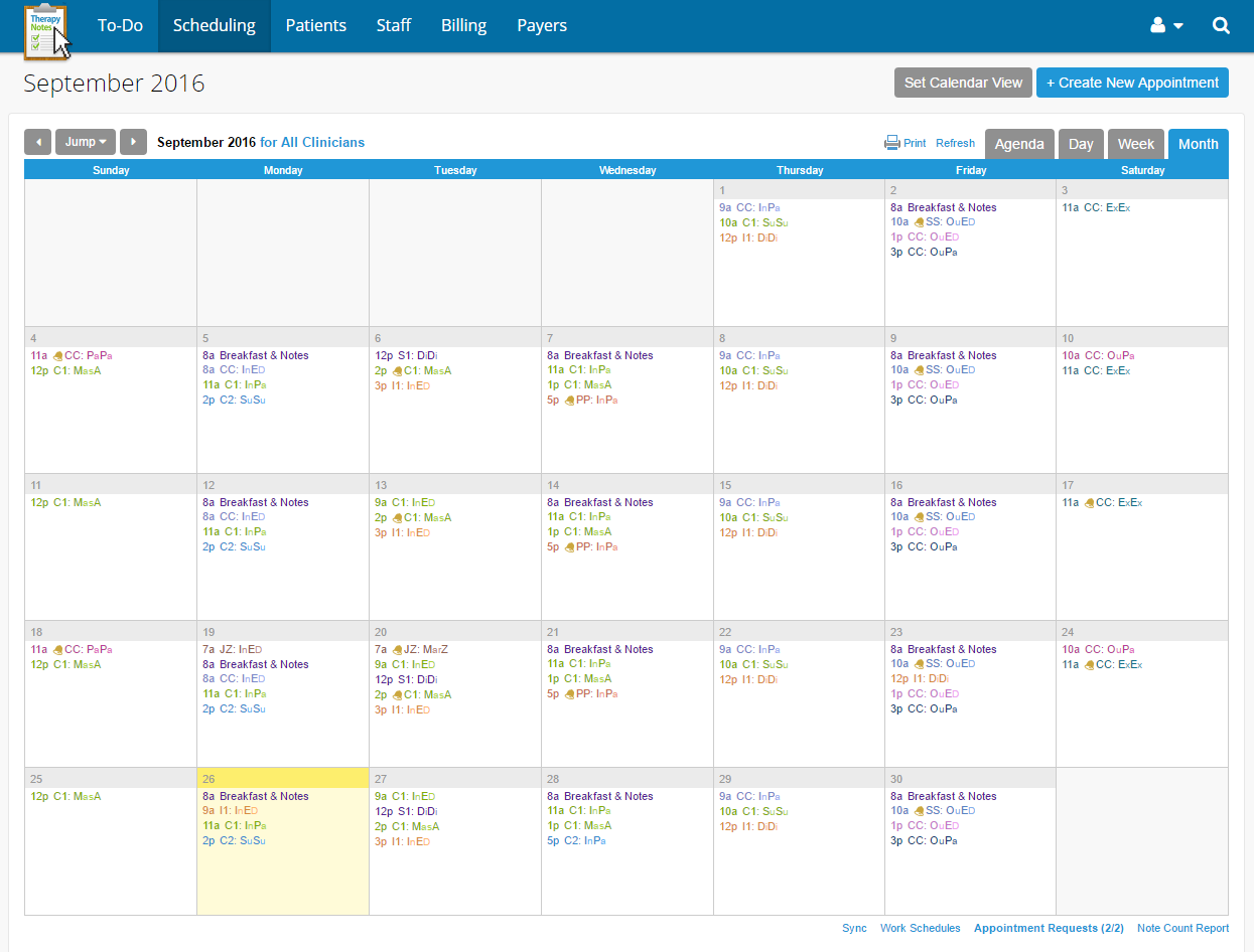 The calendar will help your clinicians, schedulers, and practice administrators schedule and organize appointments, set reminders, and flag appointment alerts.