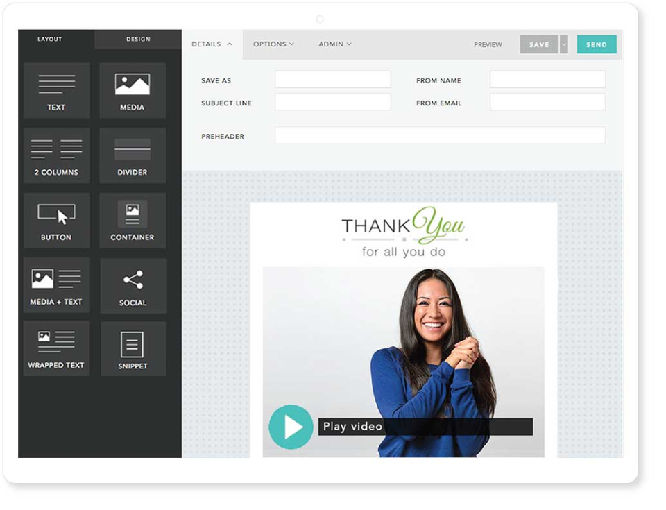 Create and store email templates with your branding on it. Send 1-to-1 or scale your video messages and send to up to 3500 contacts.