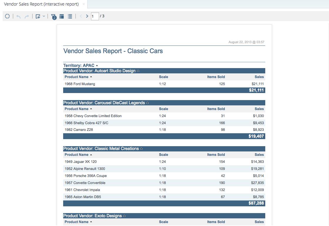 Vendor sales report