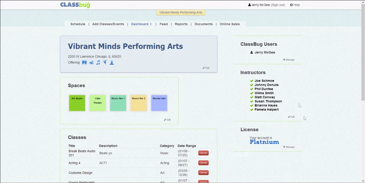 The ClassBug dashboard shows information about the venue, its instructors, classes offered, and more.