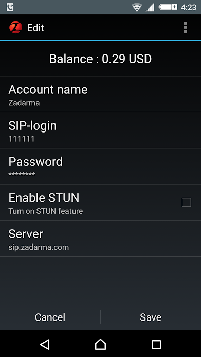 Zadarma SIP app for iOS and Android devices, as shown here, provides users with a display of the current balance for the named account