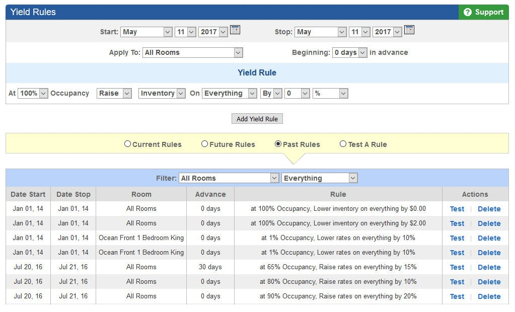 OpenHotel PMS Software - Yield management