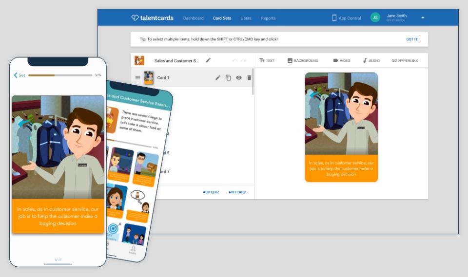 TalentCards Software - TalentCards Admin view