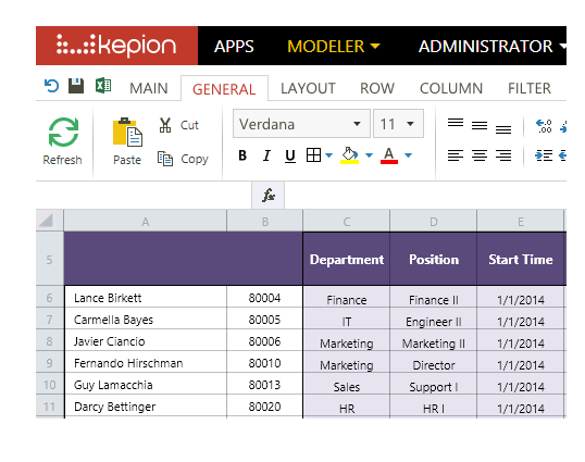 Kepion provides a familiar spreadsheet interface for finance, sales and operations to perform their planning, budgeting and forecasting activities