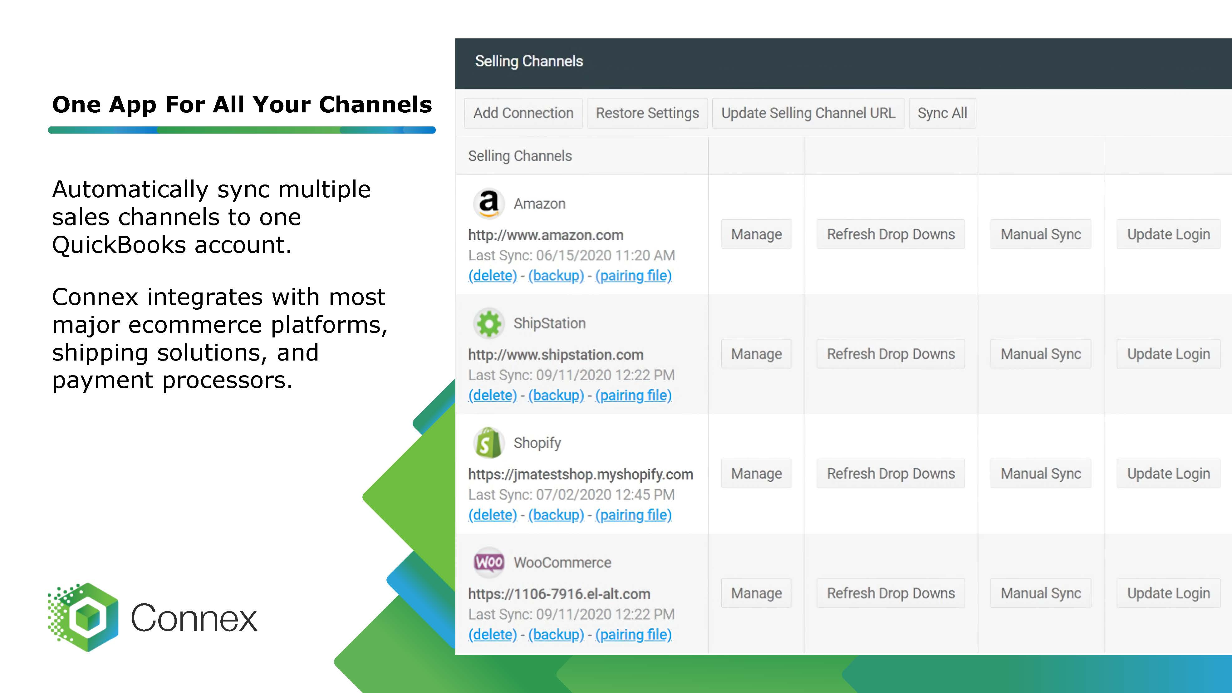 One app for all your ecommerce channels syncing with QuickBooks