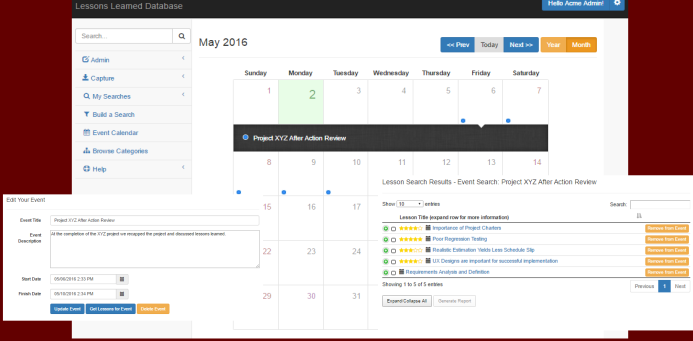 Add, edit, and manage events from the Lessons Learned Database calendar