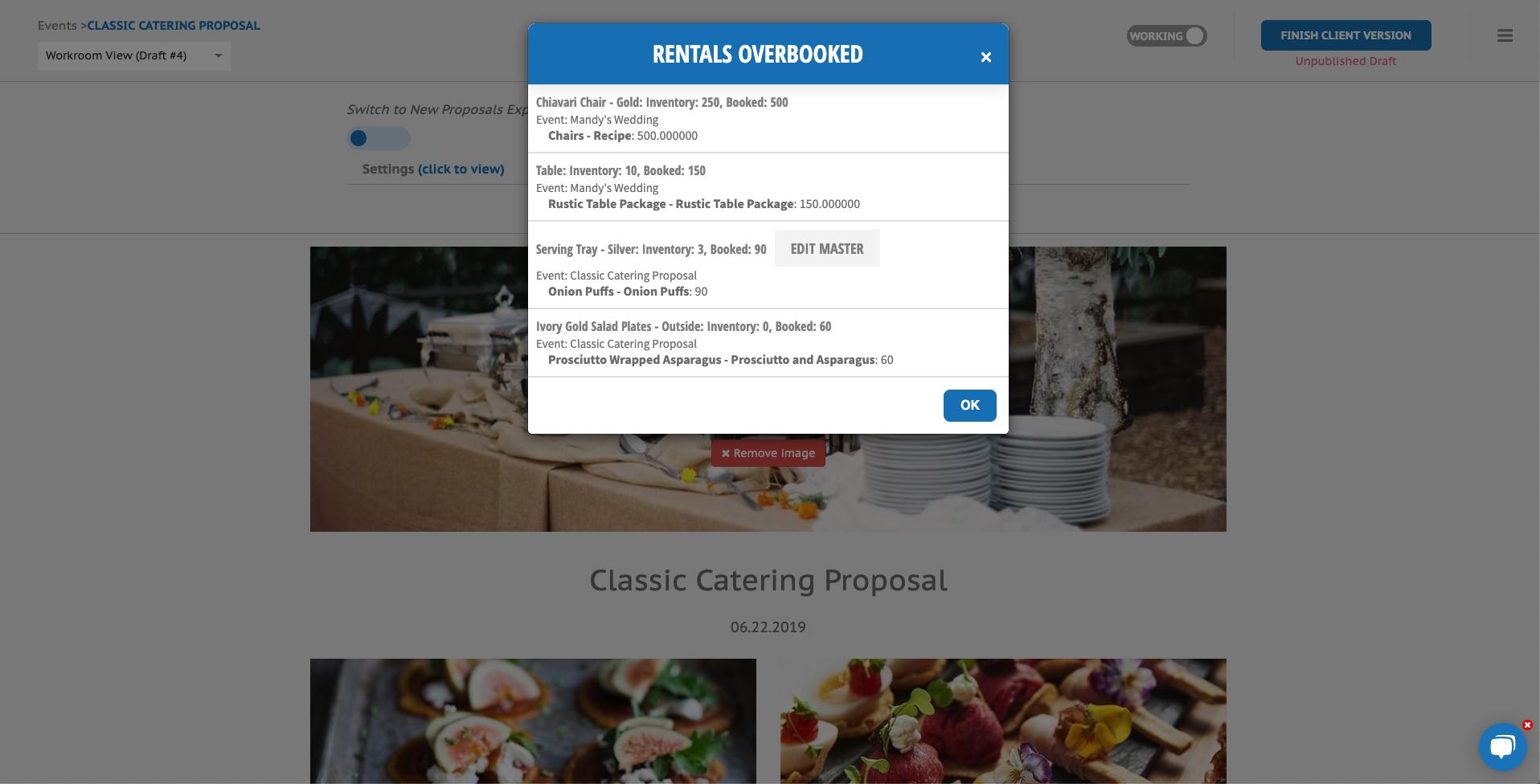 Rental Overbooked notifications