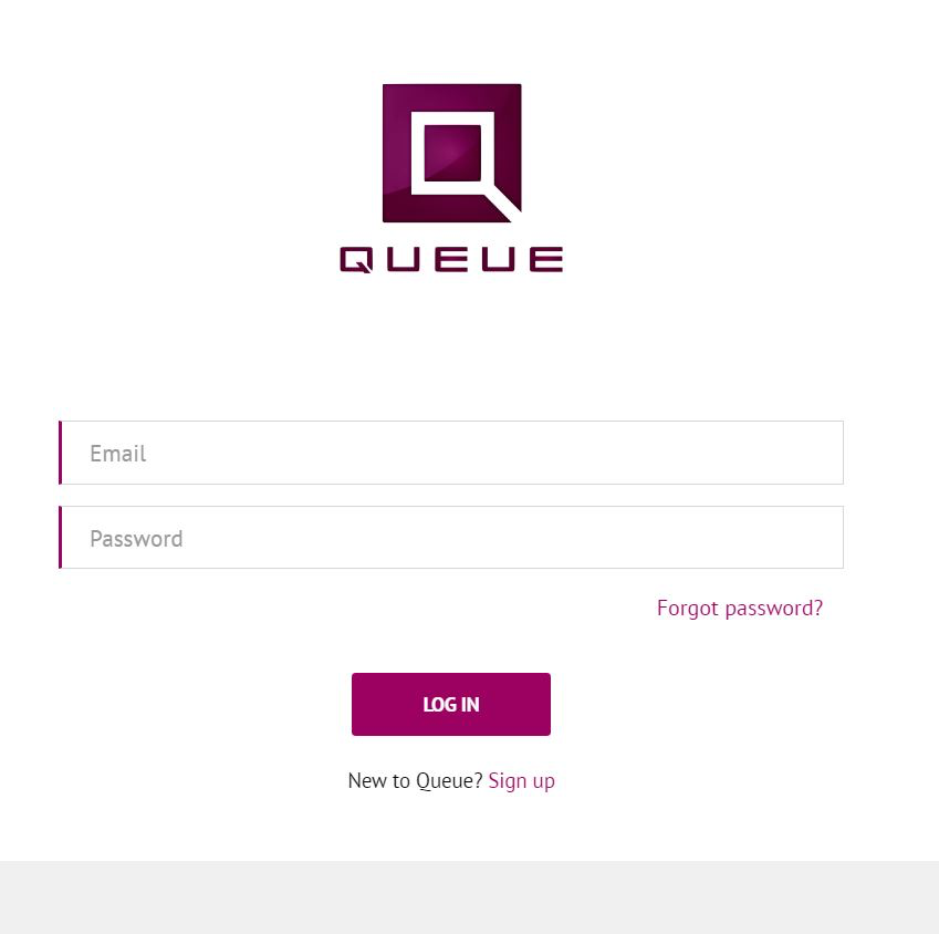 The Queue user login page