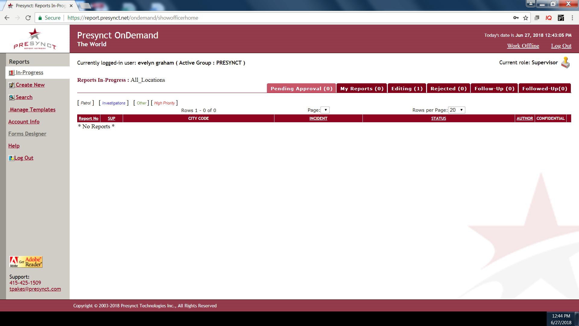 Presynct_OnDemand Software - Reports in progress