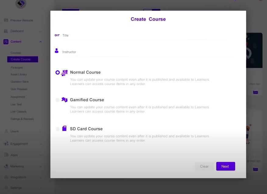Spayee create courses