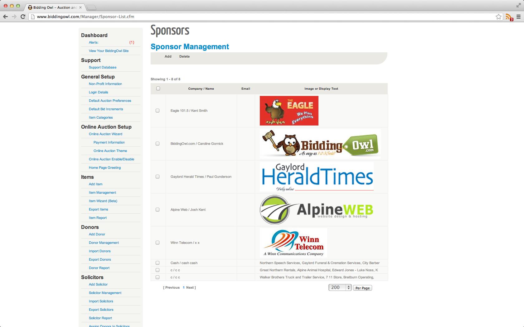 BiddingOwl sponsors management