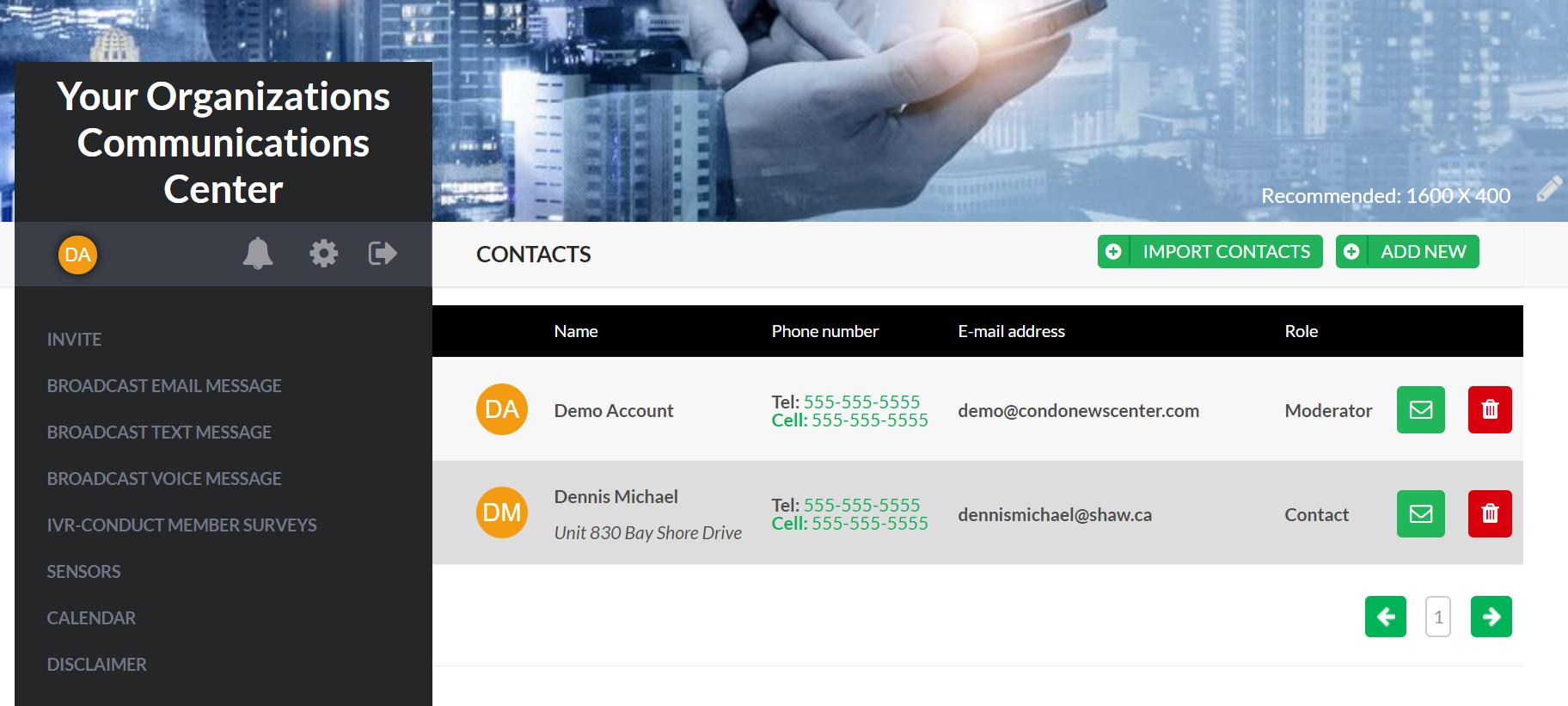 Communication Centers contact management