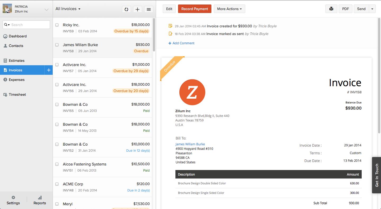 Zoho Invoice - Invoice Details