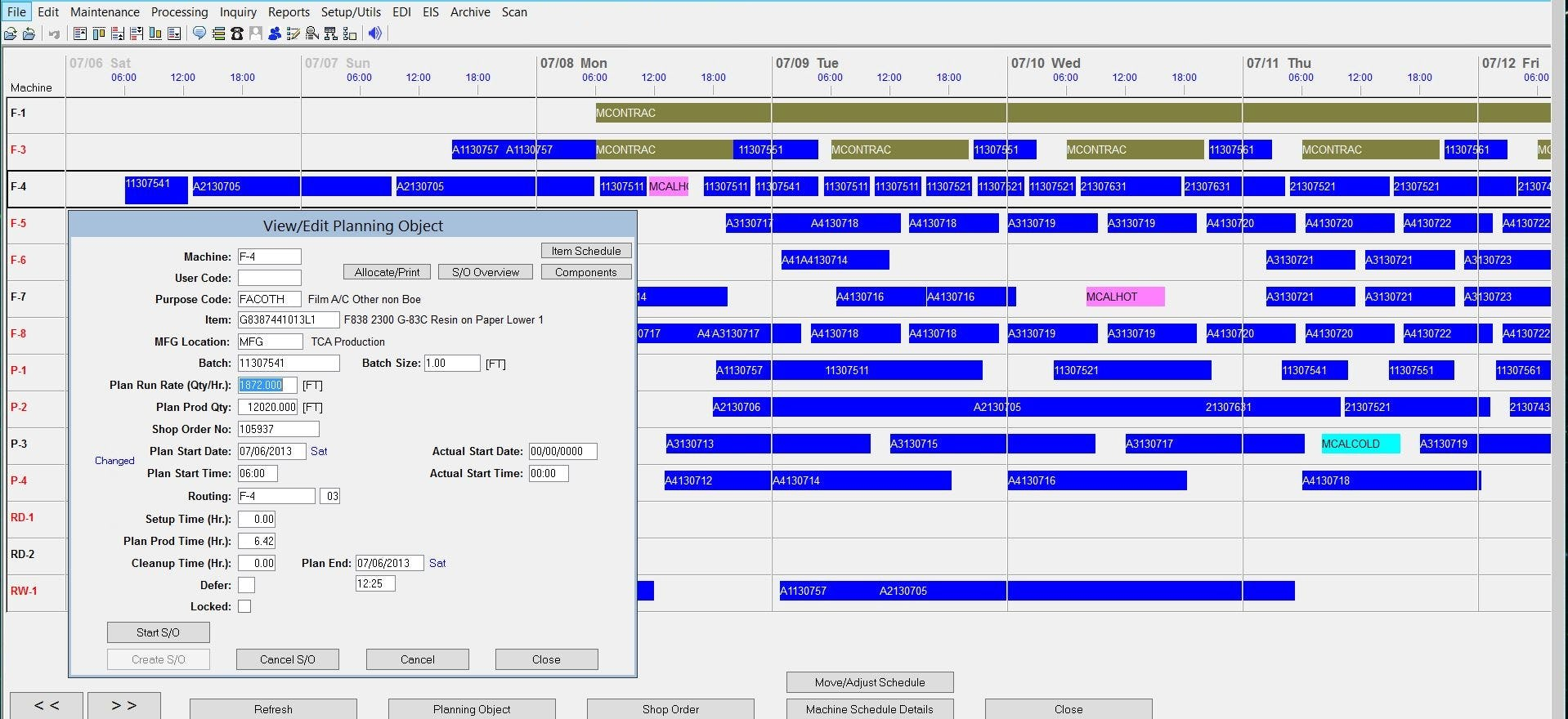 Synchronous ERP Software - Manufacturing schedule
