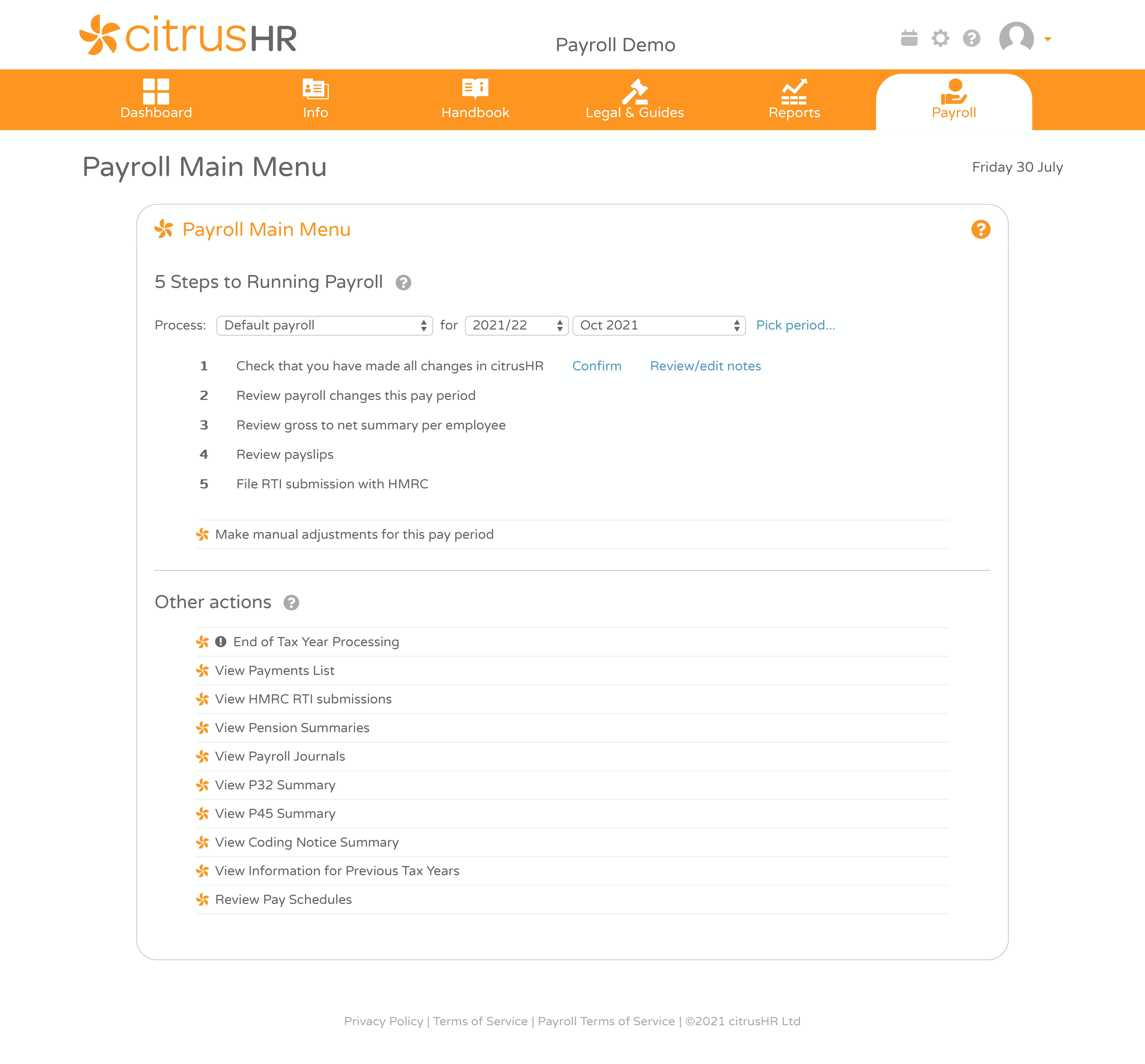 citrusHR Software - Payroll main menu with five easy steps to complete the payroll process