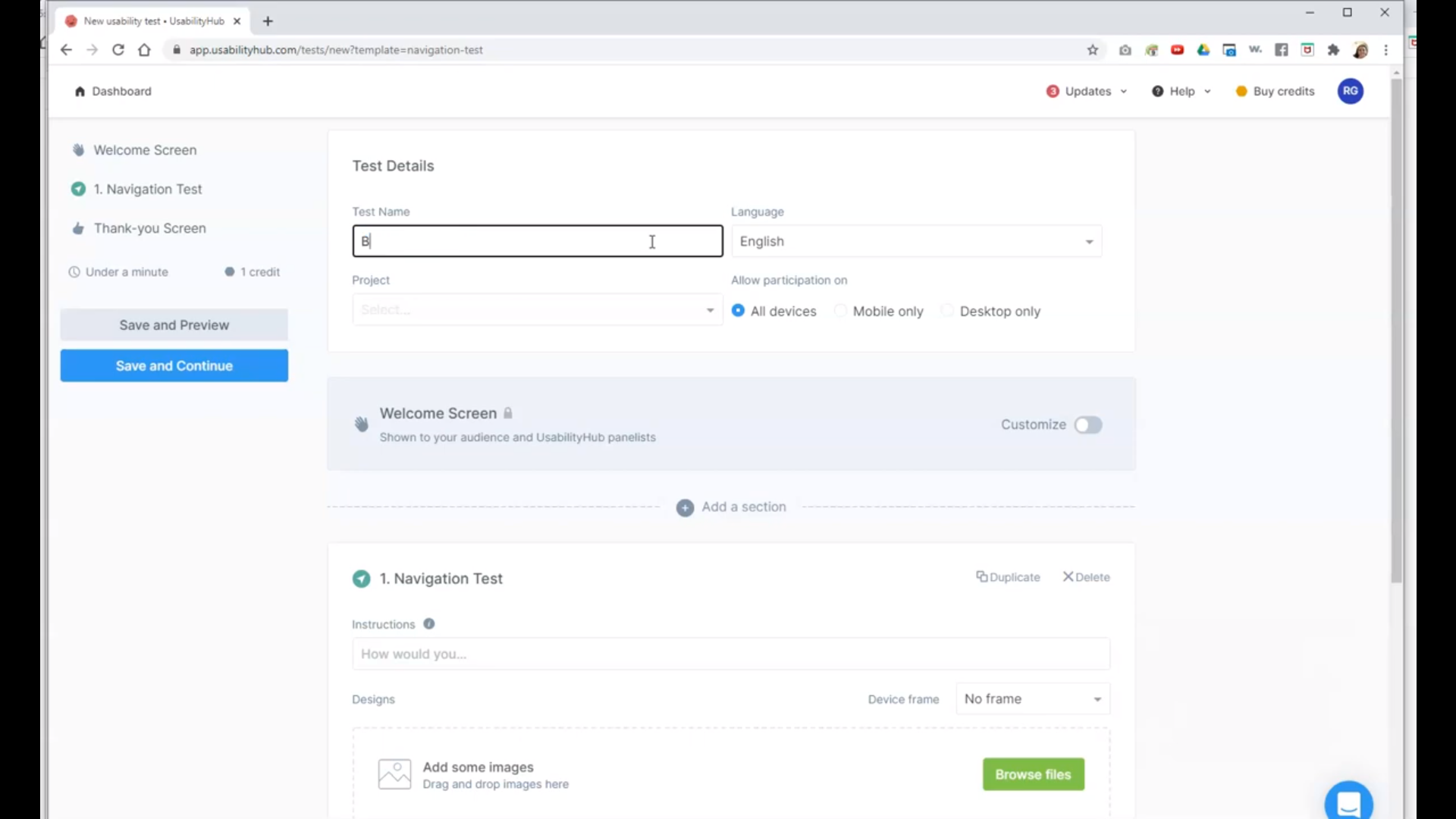 UsabilityHub create new tests