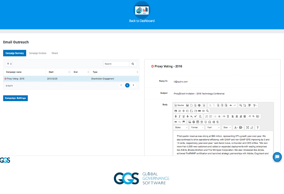 emPower Digital Boardroom Platform voting screenshot