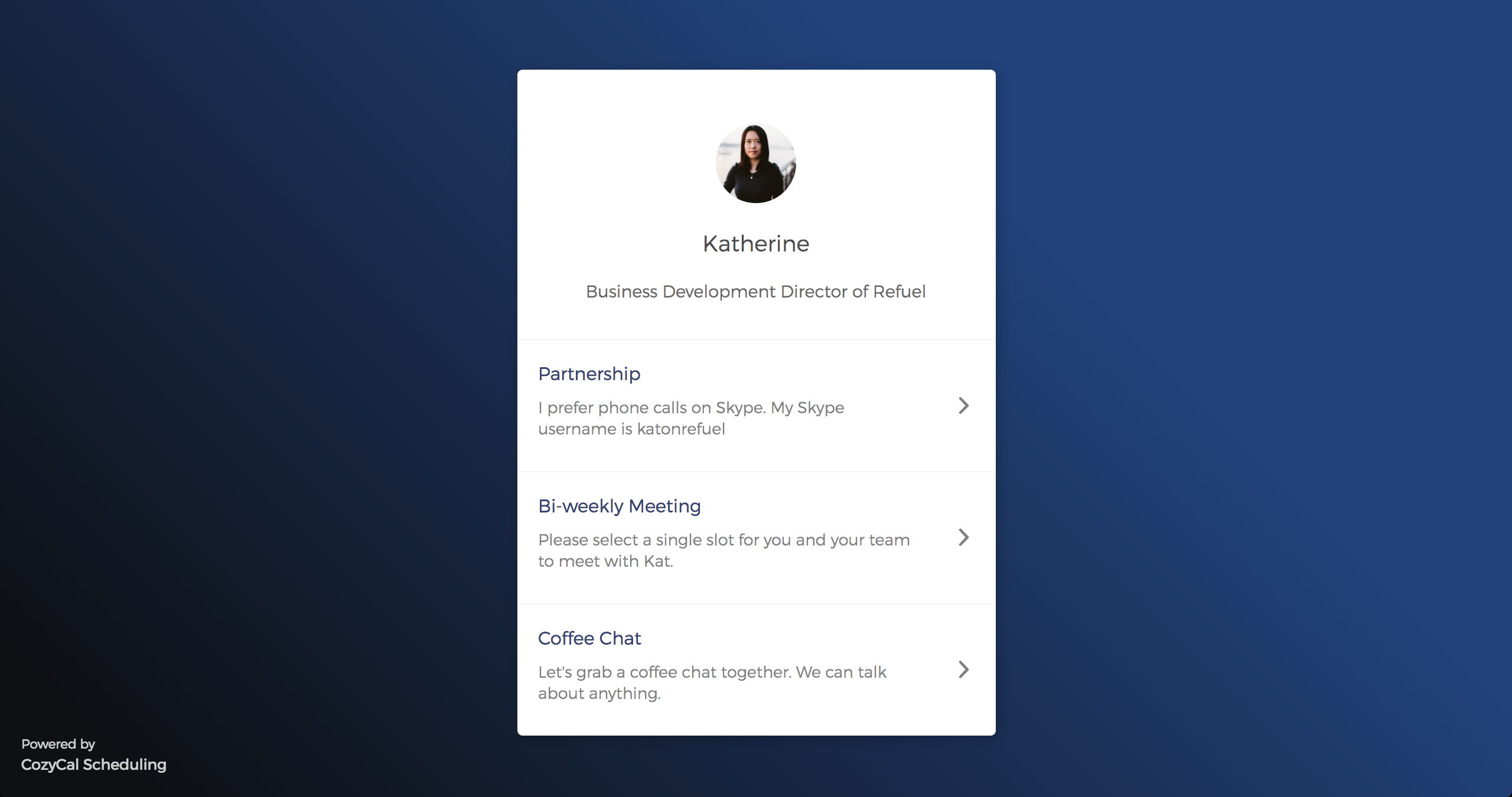 A customizable, elegant-looking booking page that allows clients to easily see event types and event descriptions
