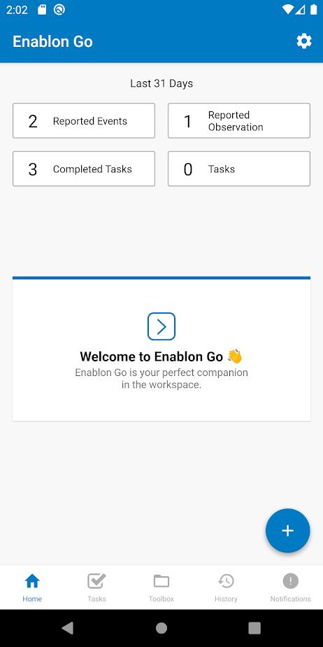 Enablon Incident Management home screen