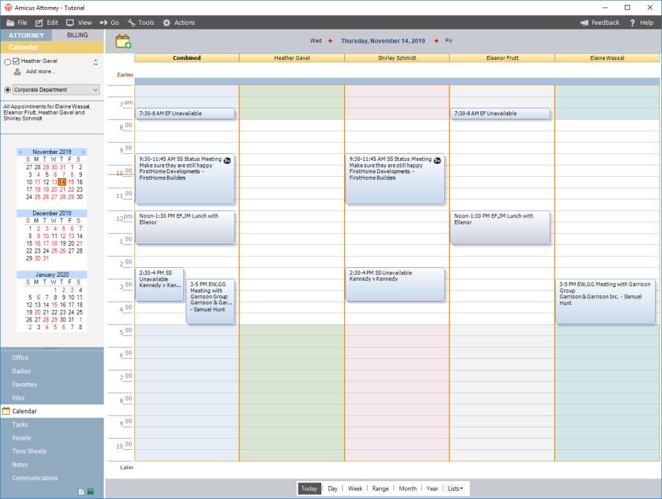 Amicus Attorney calendar
