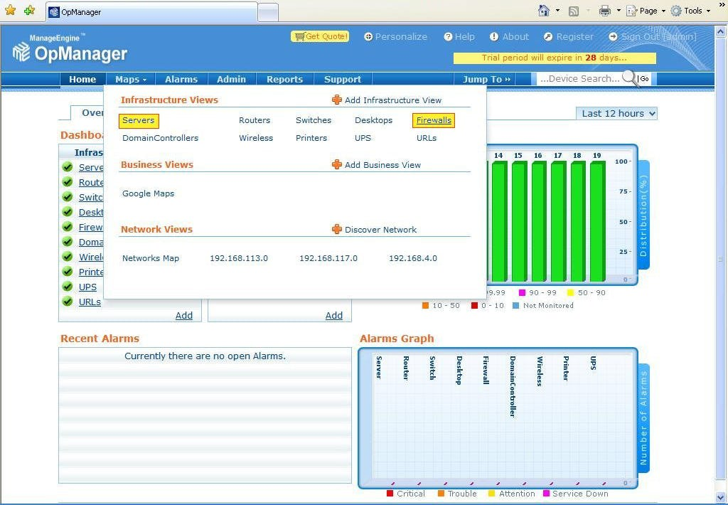ManageEngine OpManager Software - Home screen