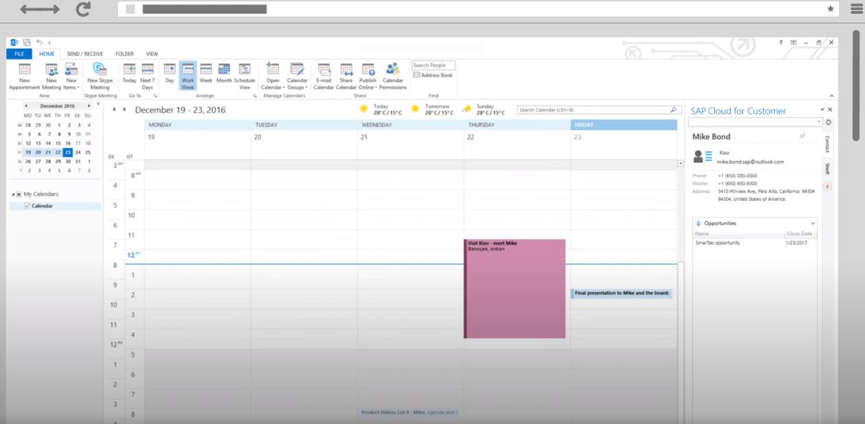 SAP Sales Cloud Software - SAP Sales Cloud Microsoft Outlook Integration