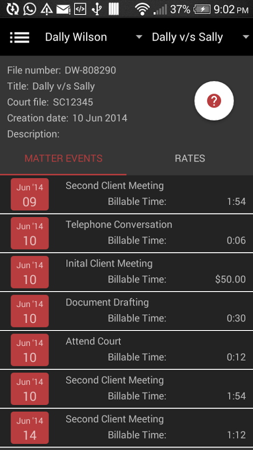 Track billable hours and meeting history for each client via the mobile app