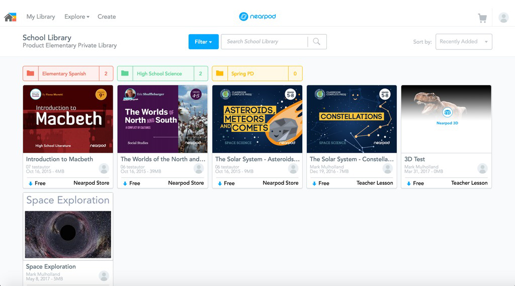 Nearpod school library