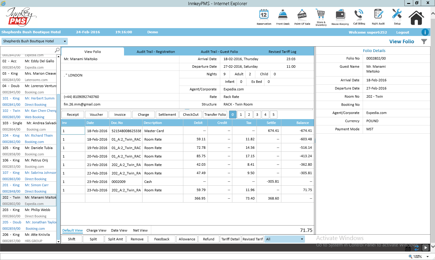 Folio guest details as shown by the tool