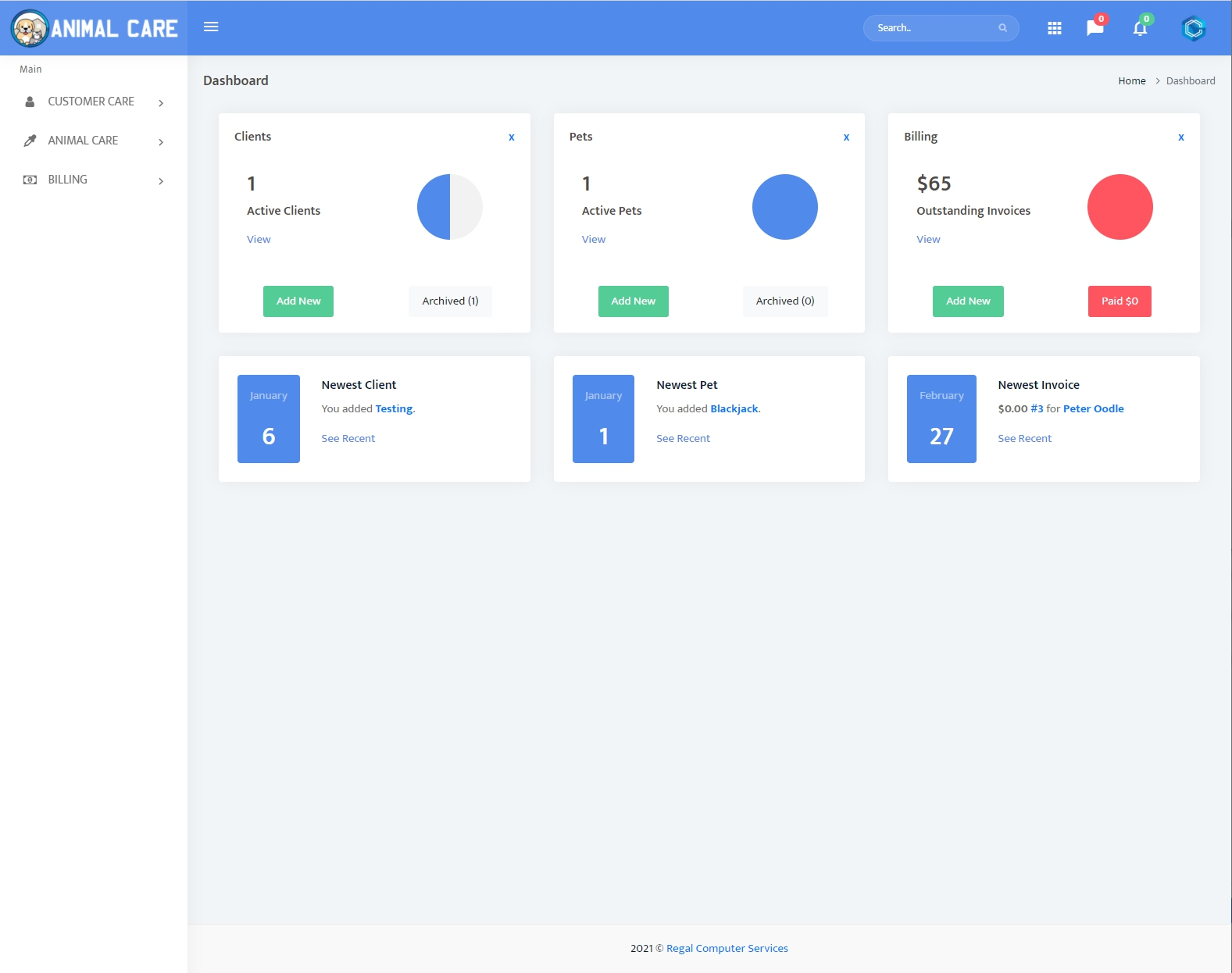 Dashboard with access to Main Features