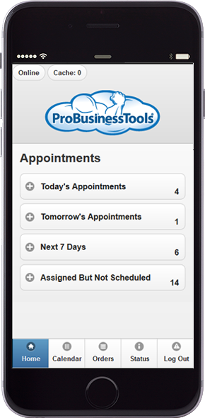 ProBusinessTools mobile app shown on iPhone device