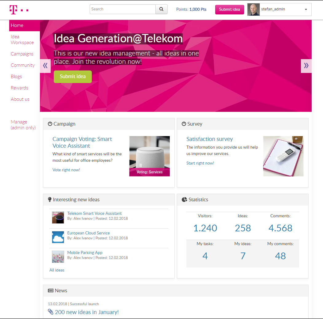 Example home page