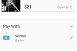 Captura de tela do Venmo: Customers can pay for items using mobile check-out