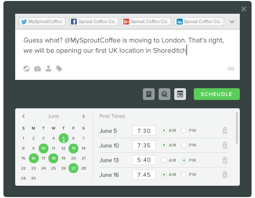Sprout Social social media scheduling