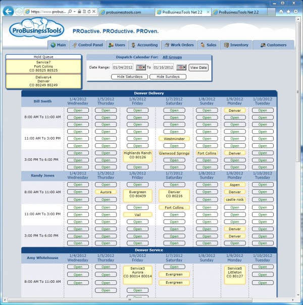 ProBusinessTools Software - Dispatch Page