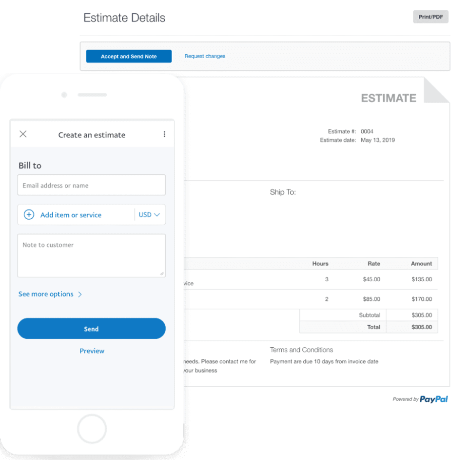 PayPal Invoicing estimate creation