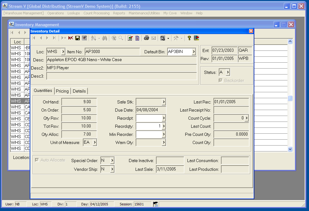 Inventory Detail in the Warehouse Management module.