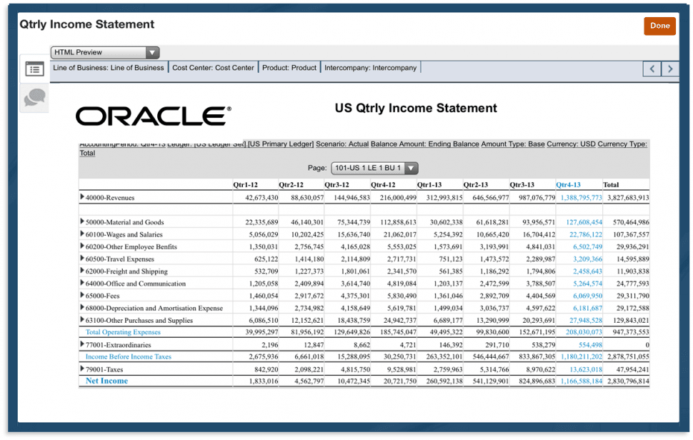 Oracle Fusion Cloud ERP Software - Quarterly statement