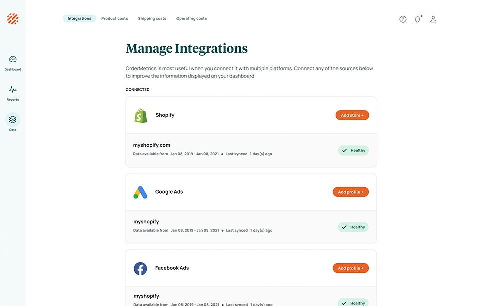 OrderMetrics managing integrations