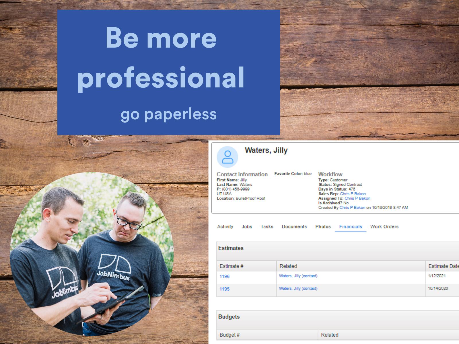 JobNimbus Software - Find information quickly using paperless estimates, invoices etc...