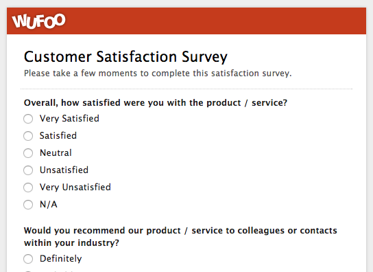 Wufoo customer satisfaction survey