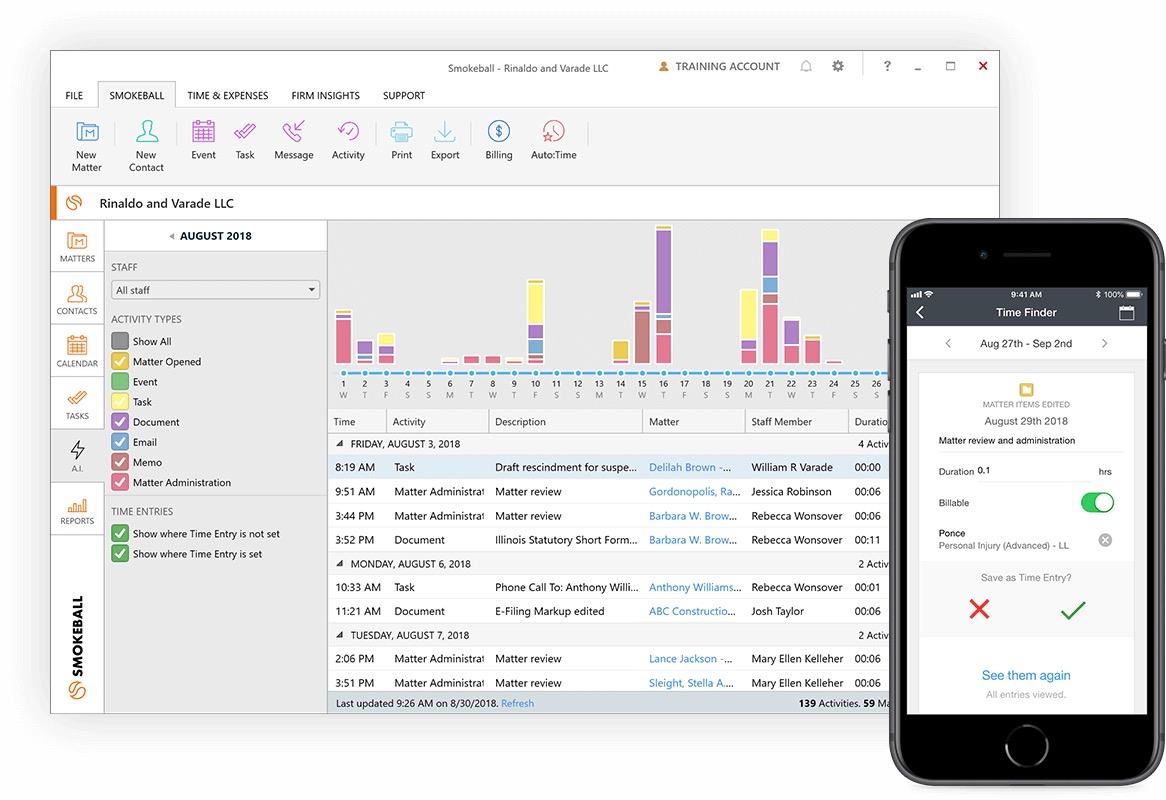 Smokeball screenshot: Smokeball activity monitoring