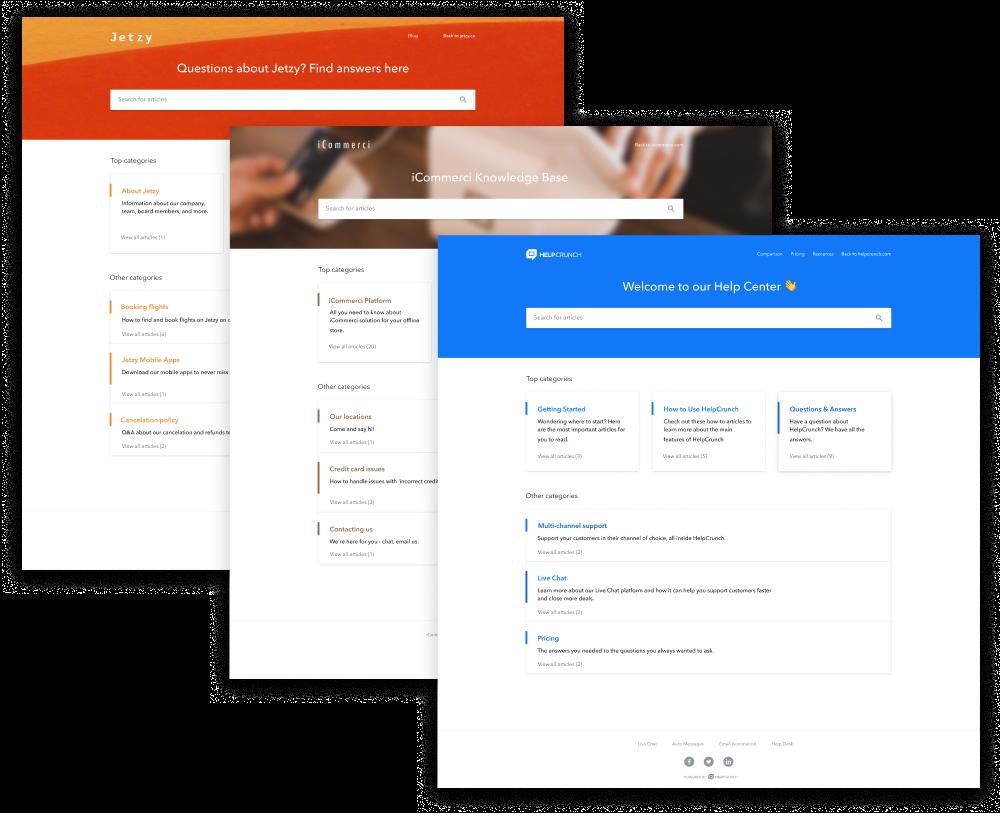 HelpCrunch Software - Knowledge base customizations