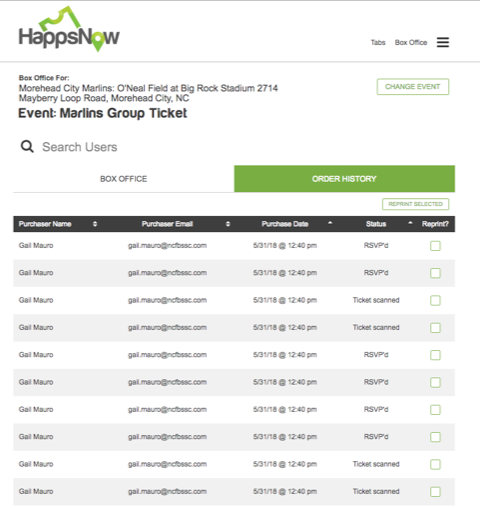 Group ticket list