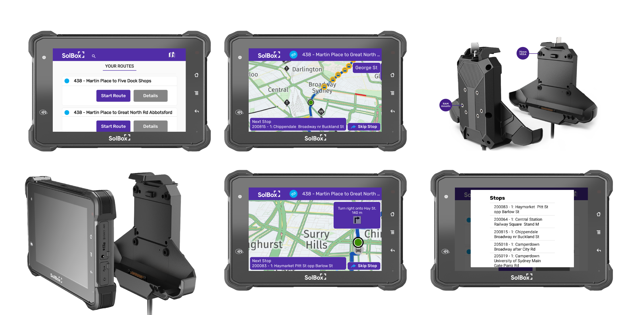 Ruggedized Driver Tablet , Heavy Vehicle/Bus Specific Navigation