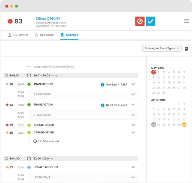 View the activity history of customers