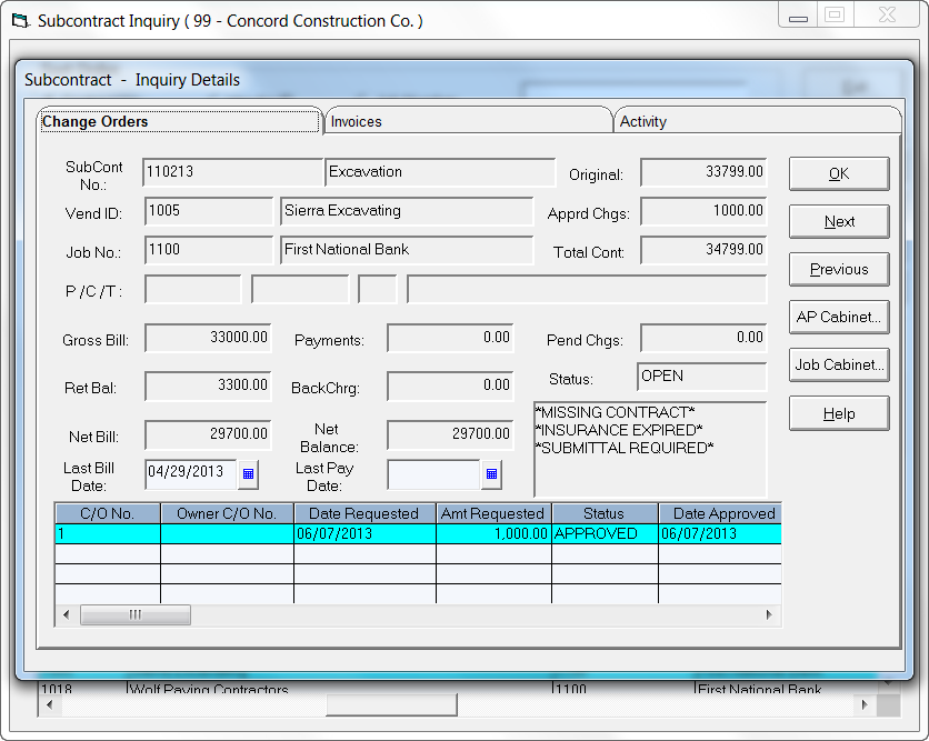 Infor Construction Software - Subcontract Inquiry
