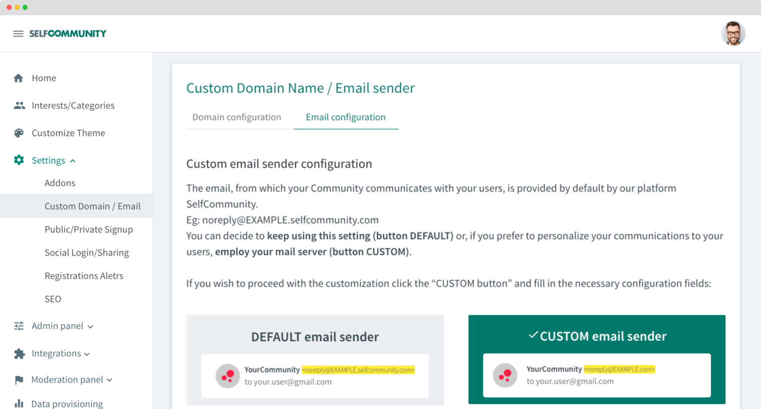 SelfCommunity customizable domain and email sender