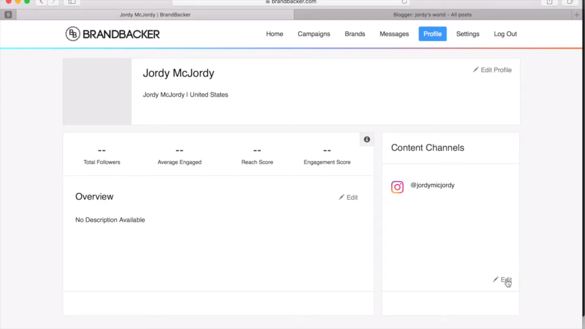 BrandBacker user profile