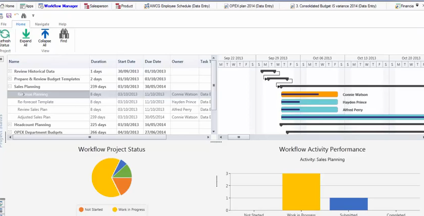 Monitor workflow project status and activity performance